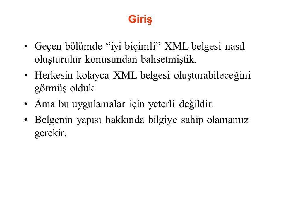 Giriş Geçen bölümde iyi-biçimli XML belgesi nasıl oluşturulur konusundan bahsetmiştik.