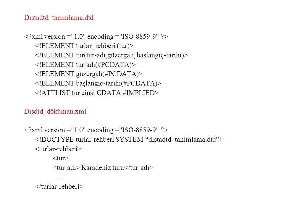 Dıştadtd_tanimlama.dtd < xml version = 1.0 encoding = ISO-8859-9 > <!ELEMENT turlar_rehberi (tur)>