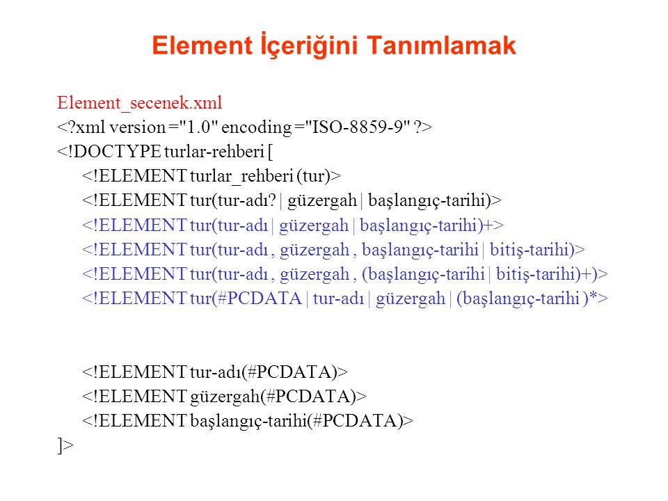 Element İçeriğini Tanımlamak