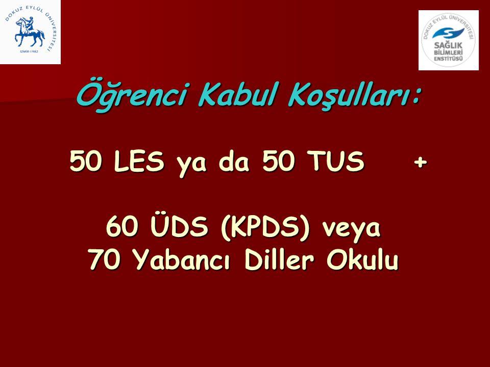 Öğrenci Kabul Koşulları: 50 LES ya da 50 TUS + 60 ÜDS (KPDS) veya 70 Yabancı Diller Okulu