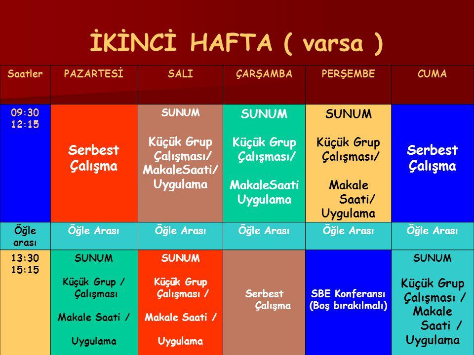 İKİNCİ HAFTA ( varsa ) Serbest Çalışma Küçük Grup Çalışması/