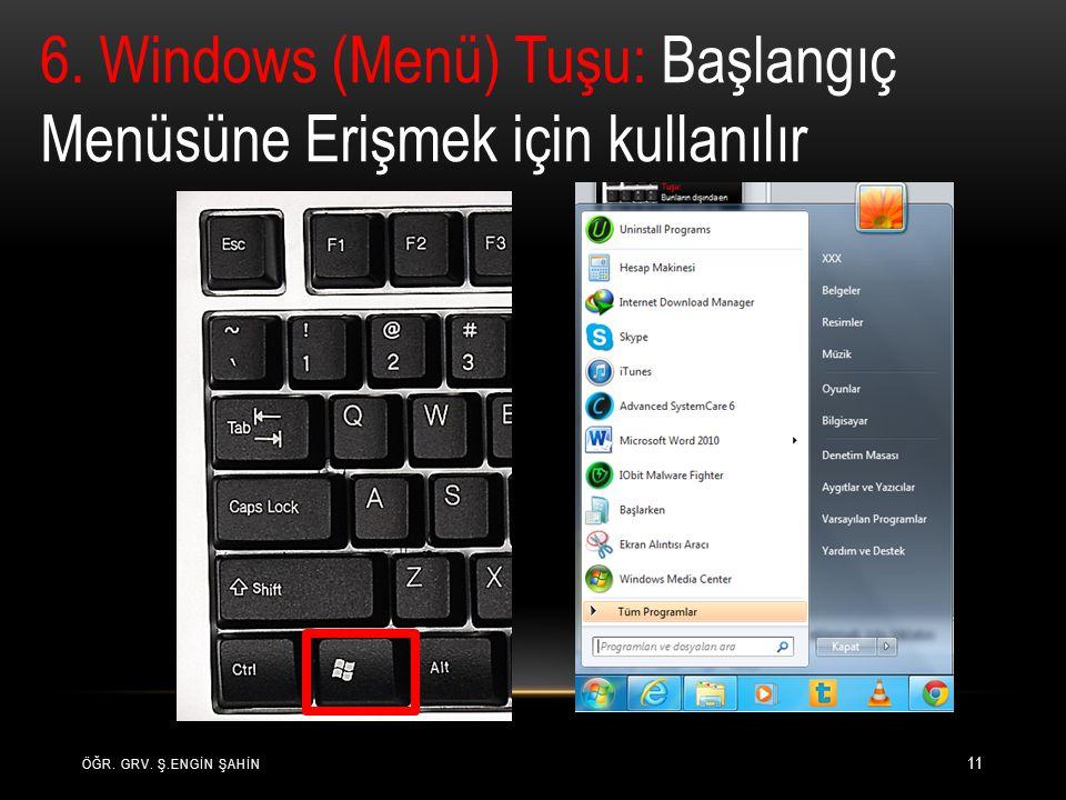 6. Windows (Menü) Tuşu: Başlangıç Menüsüne Erişmek için kullanılır