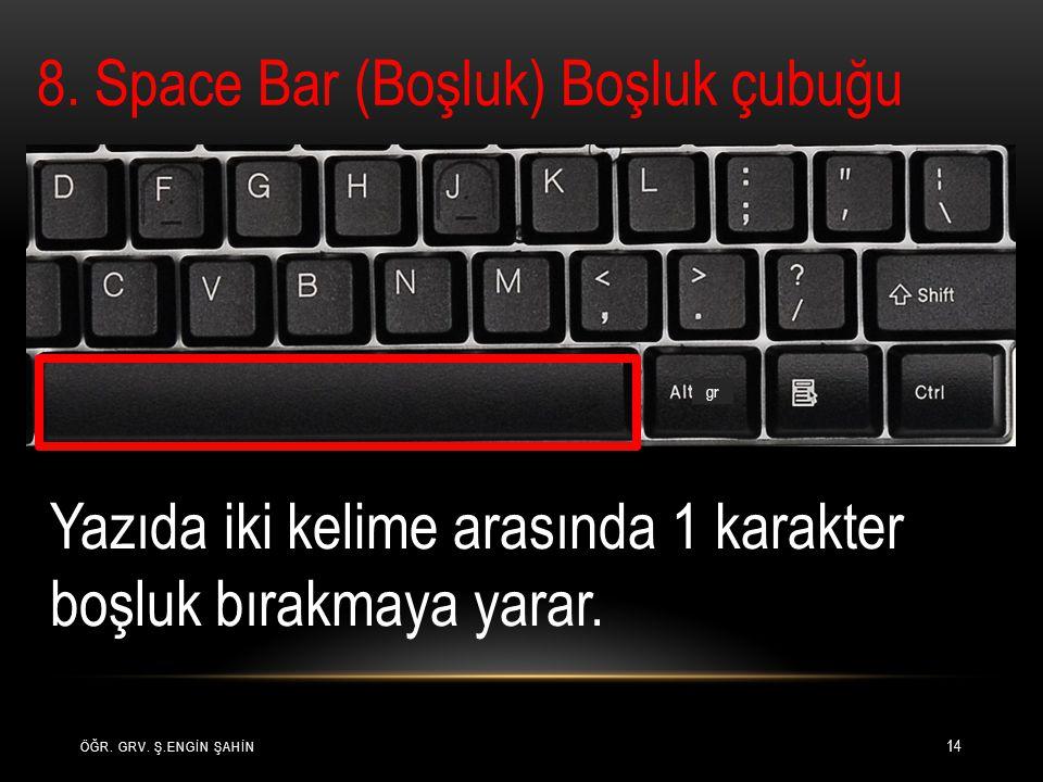 8. Space Bar (Boşluk) Boşluk çubuğu