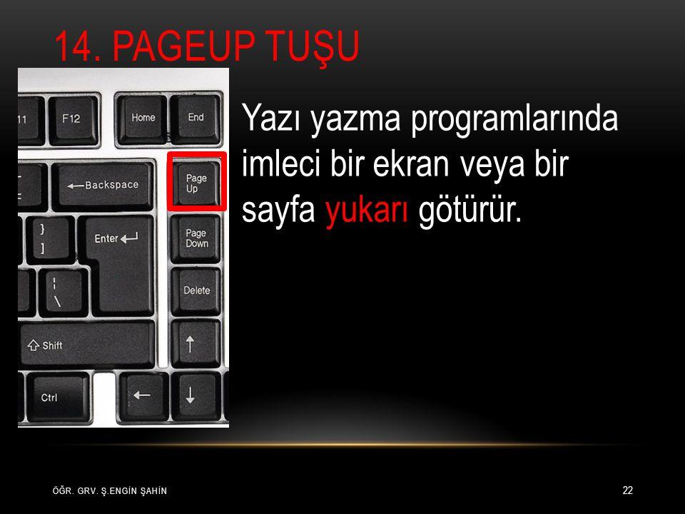 14. Pageup Tuşu Yazı yazma programlarında imleci bir ekran veya bir sayfa yukarı götürür.
