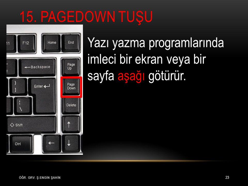 15. PageDown Tuşu Yazı yazma programlarında imleci bir ekran veya bir sayfa aşağı götürür.