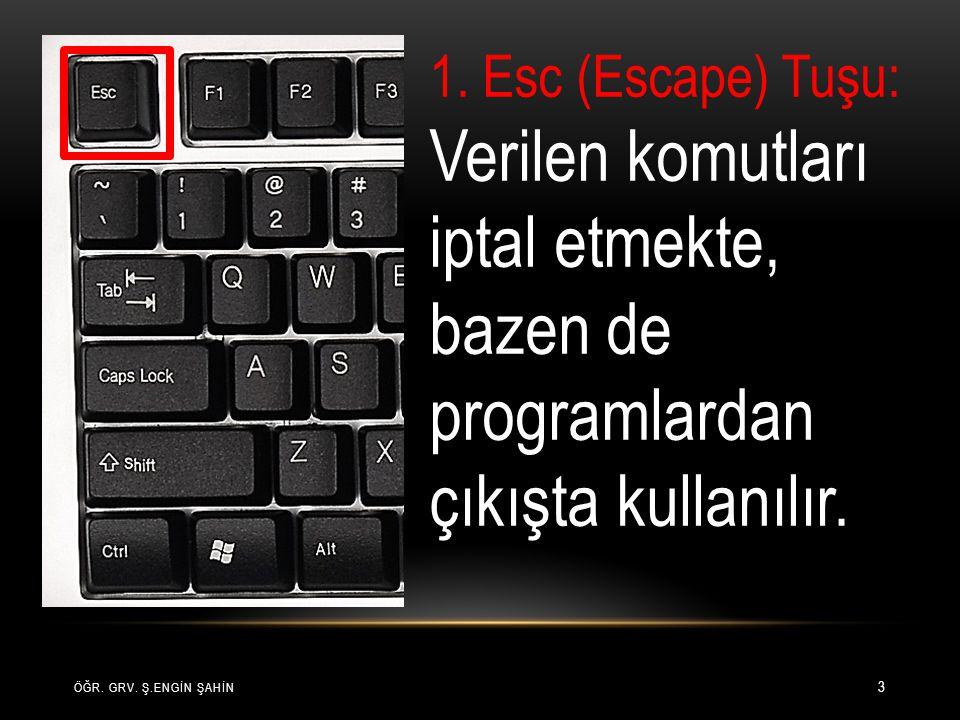 1. Esc (Escape) Tuşu: Verilen komutları iptal etmekte, bazen de programlardan çıkışta kullanılır.