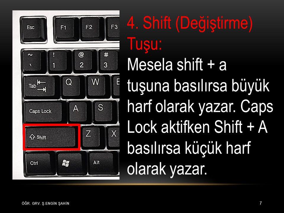 4. Shift (Değiştirme) Tuşu: