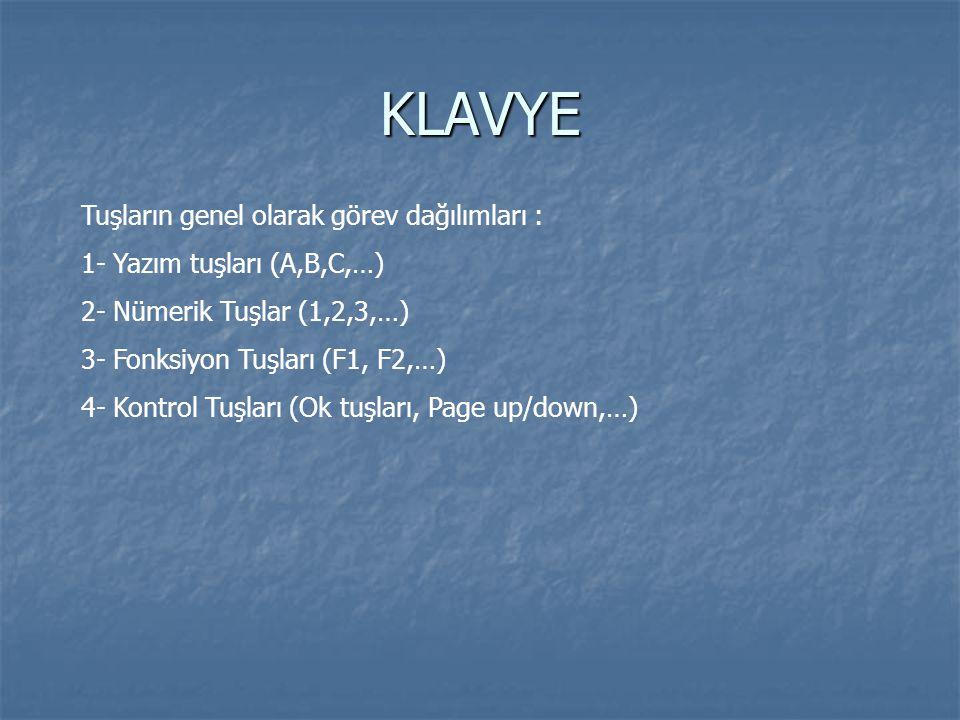 KLAVYE Tuşların genel olarak görev dağılımları :