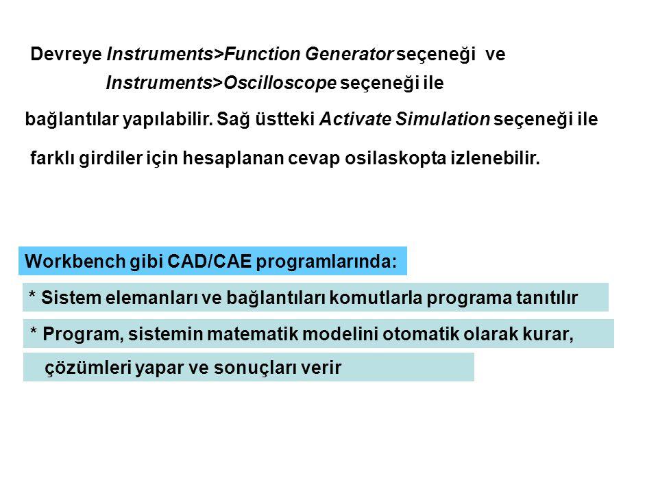 Devreye Instruments>Function Generator seçeneği ve