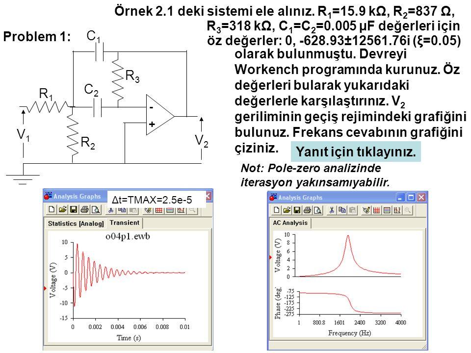 Örnek 2.1 deki sistemi ele alınız. R1=15.9 kΩ, R2=837 Ω,