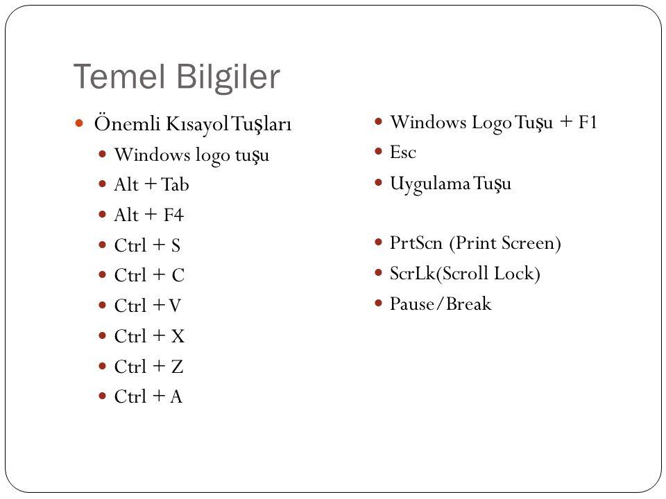 Temel Bilgiler Önemli Kısayol Tuşları Windows Logo Tuşu + F1