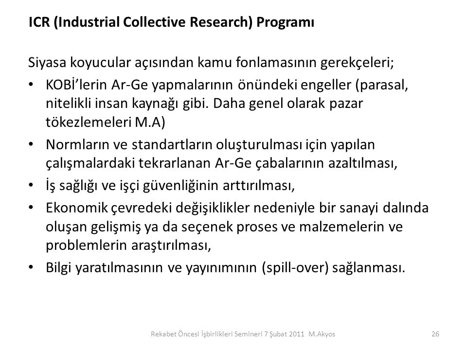 ICR (Industrial Collective Research) Programı