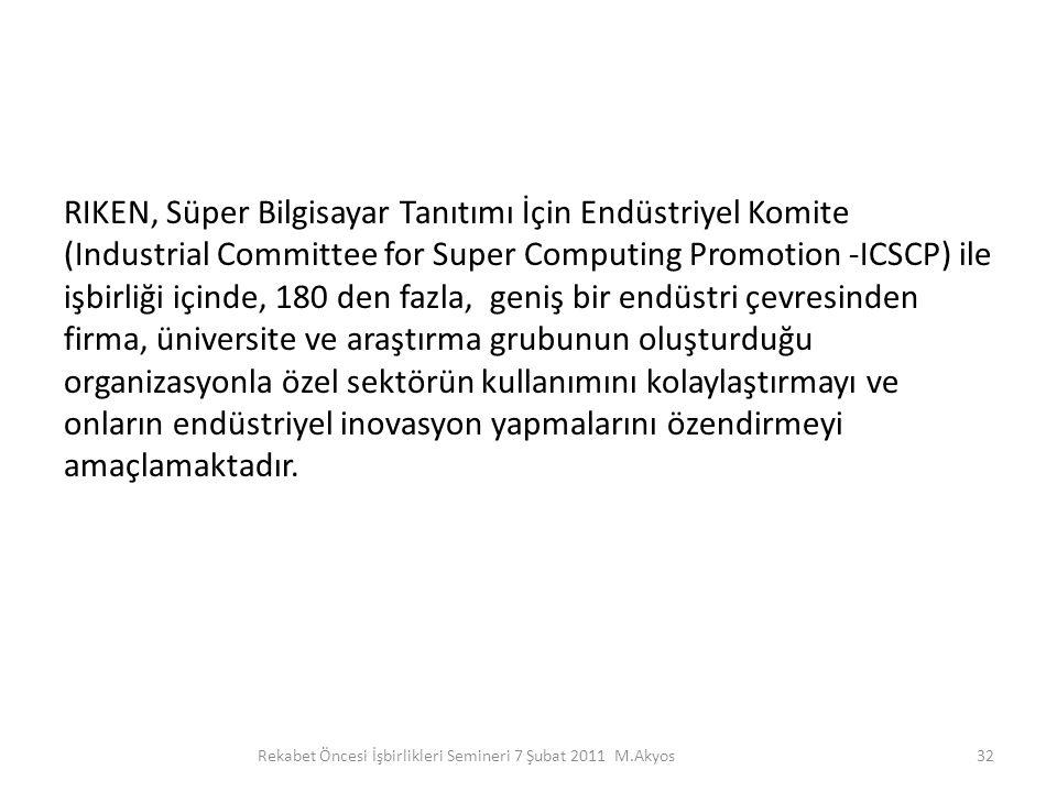 Rekabet Öncesi İşbirlikleri Semineri 7 Şubat 2011 M.Akyos