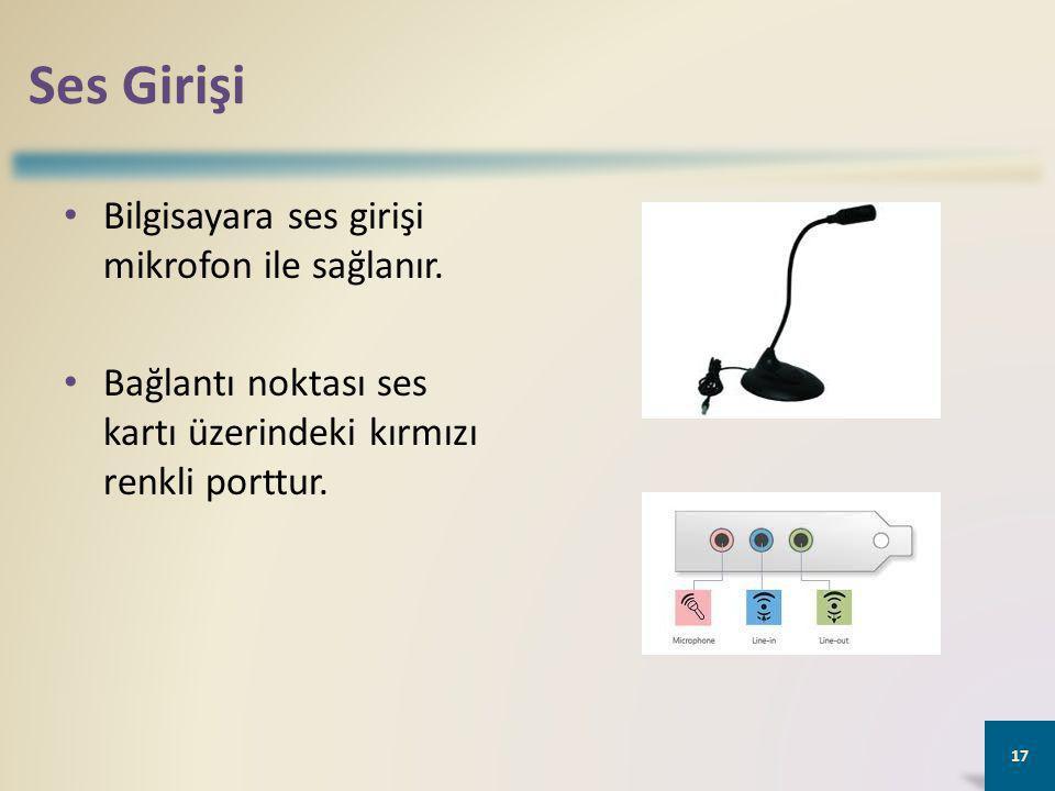 Ses Girişi Bilgisayara ses girişi mikrofon ile sağlanır.