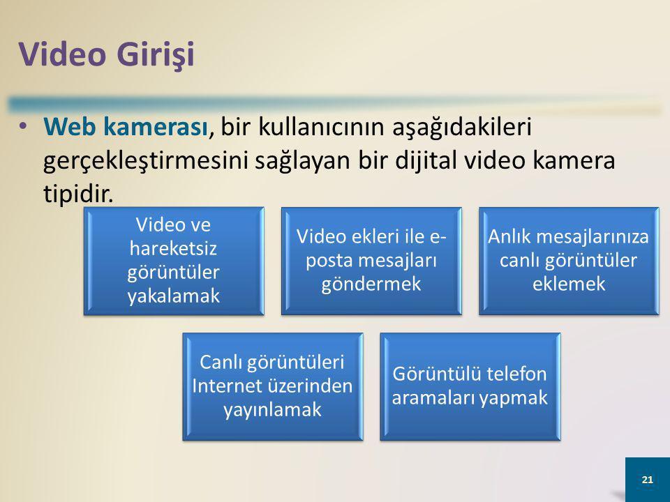Video Girişi Web kamerası, bir kullanıcının aşağıdakileri gerçekleştirmesini sağlayan bir dijital video kamera tipidir.