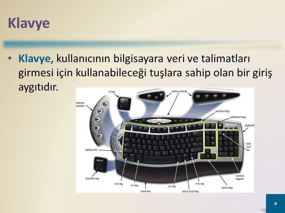 Klavye Klavye, kullanıcının bilgisayara veri ve talimatları girmesi için kullanabileceği tuşlara sahip olan bir giriş aygıtıdır.
