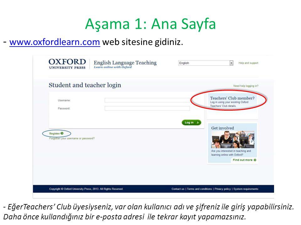 Aşama 1: Ana Sayfa - www.oxfordlearn.com web sitesine gidiniz.