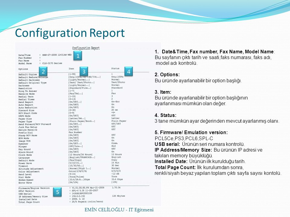 Configuration Report Date&Time, Fax number, Fax Name, Model Name: