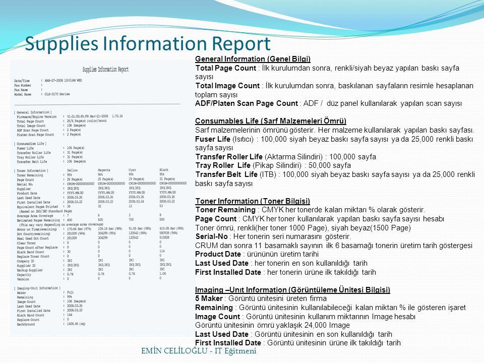 Supplies Information Report