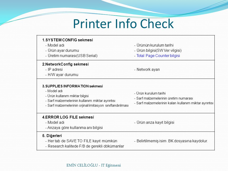Printer Info Check 1.SYSTEM CONFIG sekmesi - Model adı