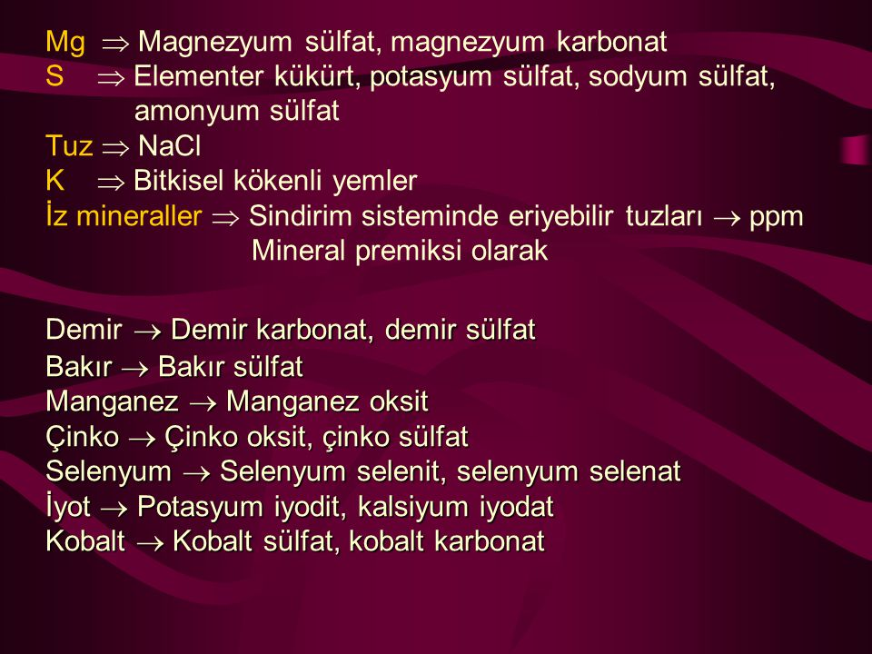 Mg  Magnezyum sülfat, magnezyum karbonat