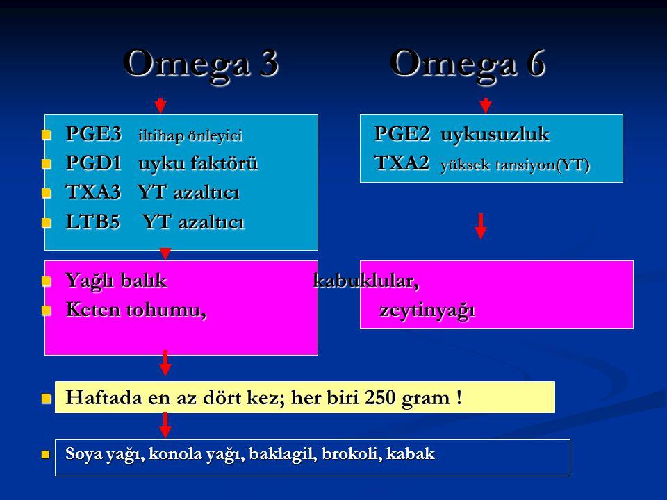 Omega 3 Omega 6 PGE3 iltihap önleyici PGE2 uykusuzluk