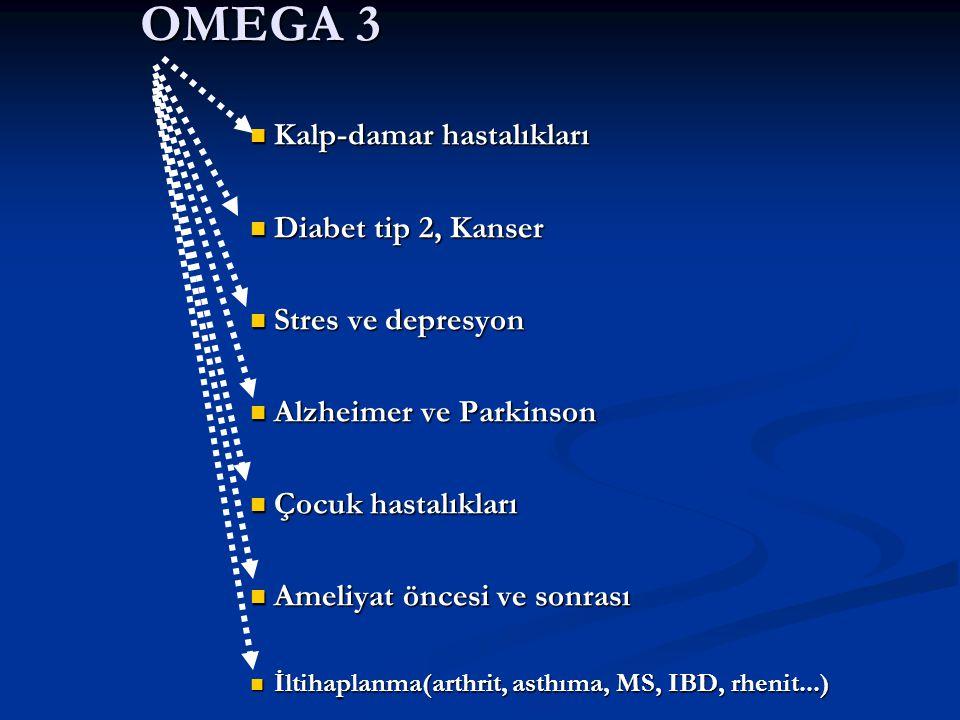 OMEGA 3 Kalp-damar hastalıkları Diabet tip 2, Kanser