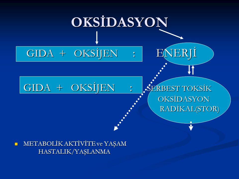 OKSİDASYON GIDA + OKSİJEN : ENERJİ