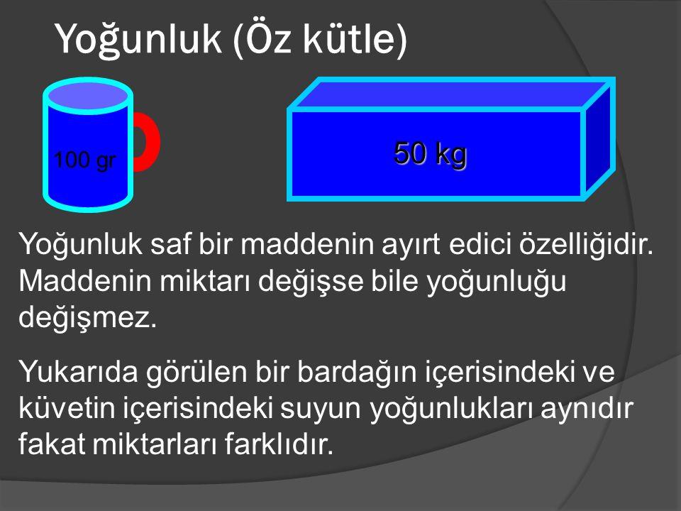 Yoğunluk (Öz kütle) 50 kg. 100 gr. Yoğunluk saf bir maddenin ayırt edici özelliğidir. Maddenin miktarı değişse bile yoğunluğu değişmez.