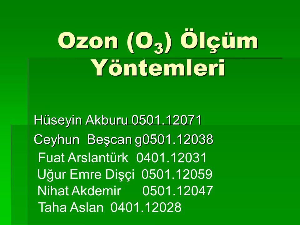 Ozon (O3) Ölçüm Yöntemleri