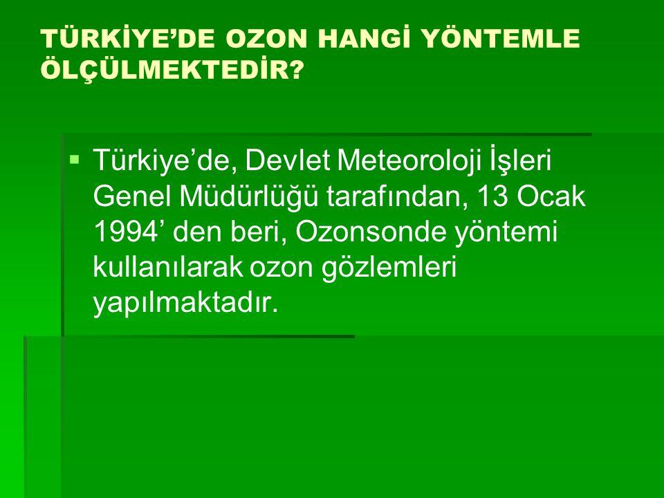 TÜRKİYE'DE OZON HANGİ YÖNTEMLE ÖLÇÜLMEKTEDİR