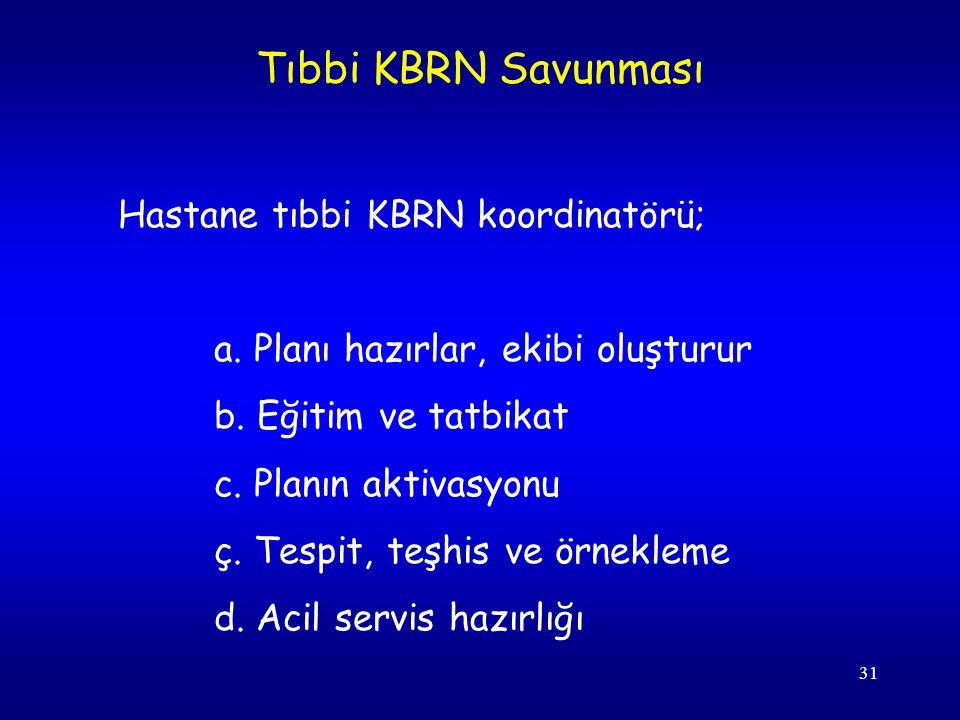 Tıbbi KBRN Savunması Hastane tıbbi KBRN koordinatörü;