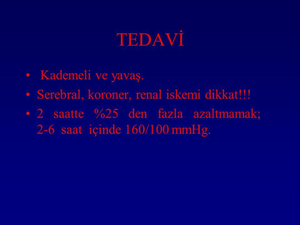 TEDAVİ Kademeli ve yavaş. Serebral, koroner, renal iskemi dikkat!!!