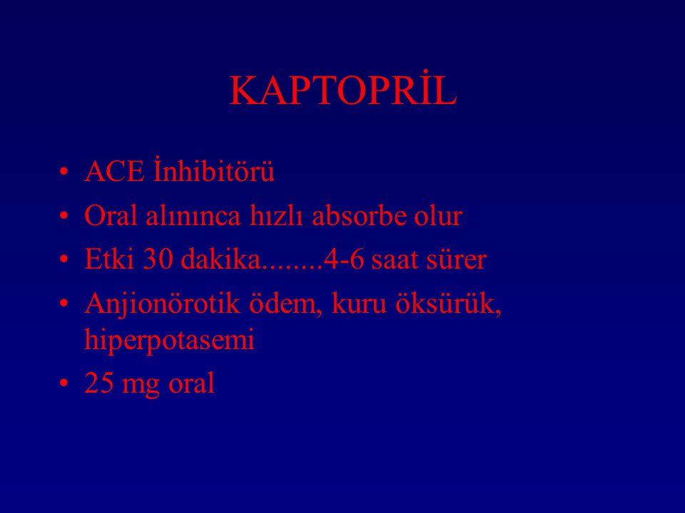 KAPTOPRİL ACE İnhibitörü Oral alınınca hızlı absorbe olur