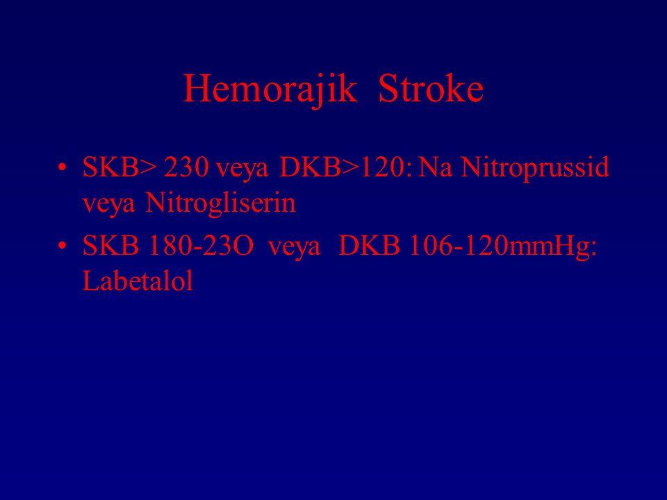 Hemorajik Stroke SKB> 230 veya DKB>120: Na Nitroprussid veya Nitrogliserin.