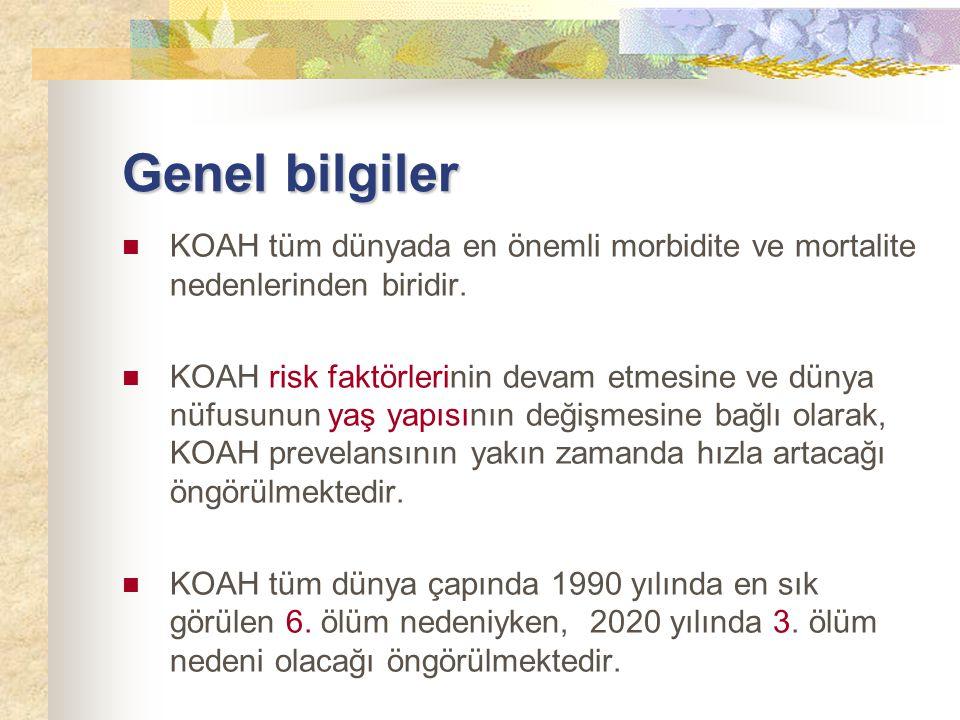Genel bilgiler KOAH tüm dünyada en önemli morbidite ve mortalite nedenlerinden biridir.