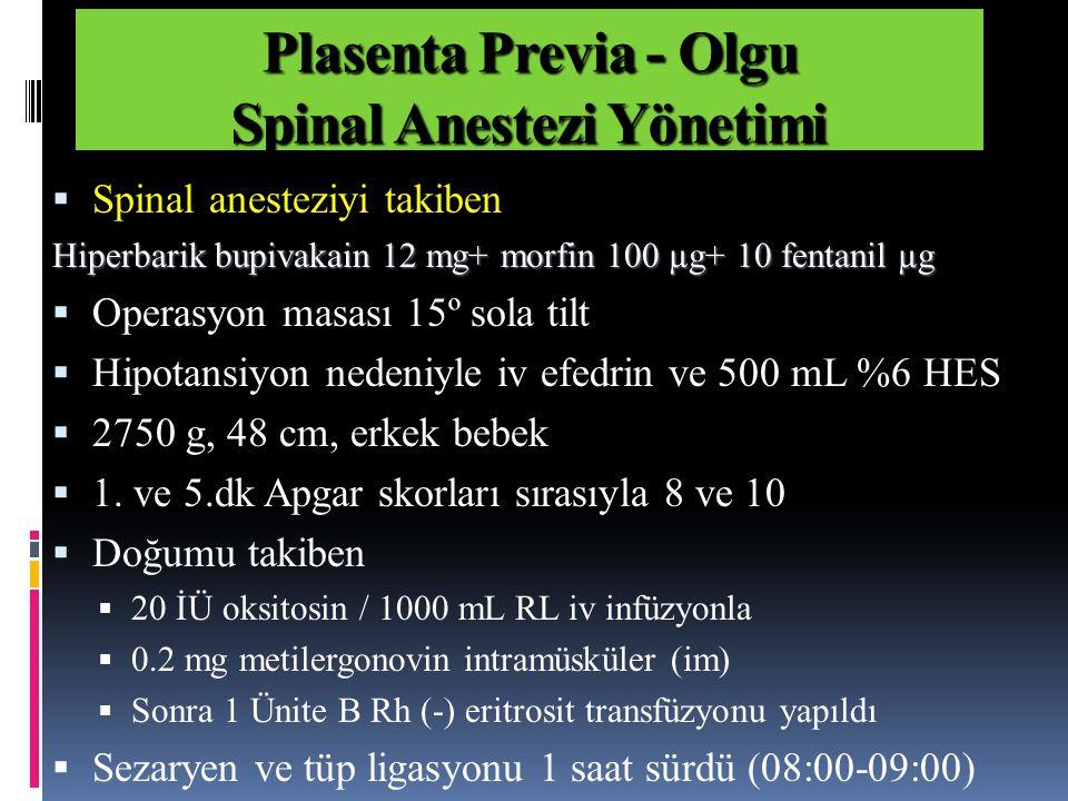 Plasenta Previa - Olgu Spinal Anestezi Yönetimi