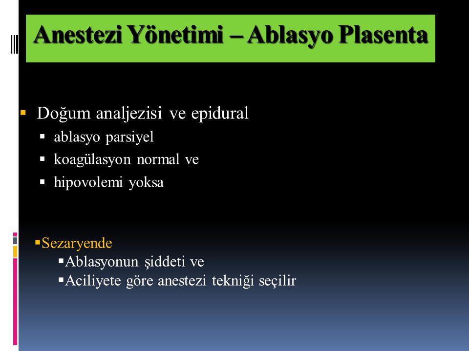 Anestezi Yönetimi – Ablasyo Plasenta
