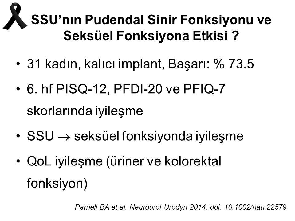 SSU'nın Pudendal Sinir Fonksiyonu ve Seksüel Fonksiyona Etkisi