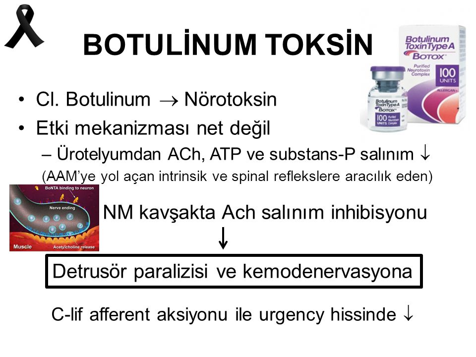 BOTULİNUM TOKSİN Cl. Botulinum  Nörotoksin Etki mekanizması net değil