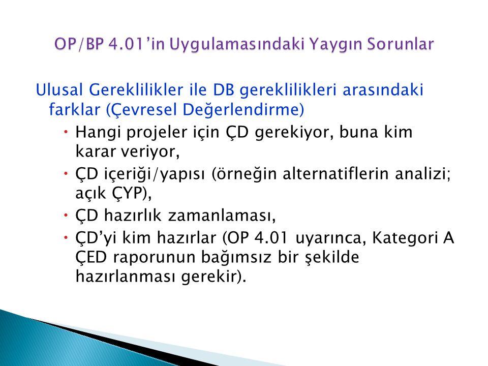 OP/BP 4.01'in Uygulamasındaki Yaygın Sorunlar