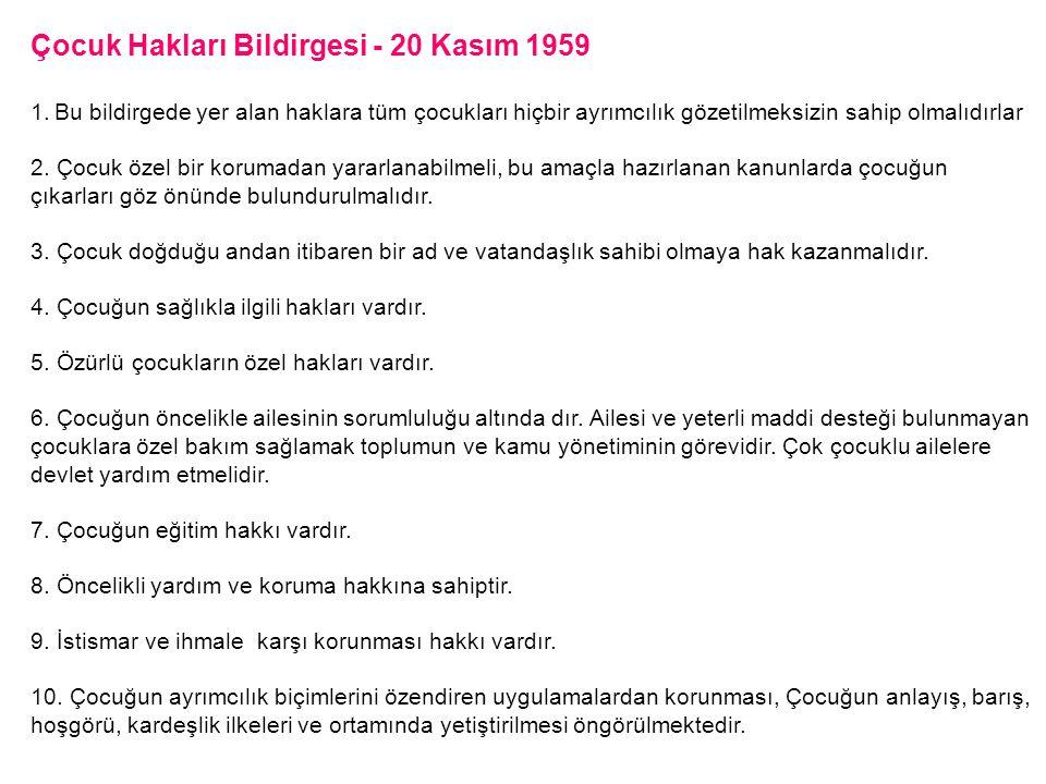 Çocuk Hakları Bildirgesi - 20 Kasım 1959 1