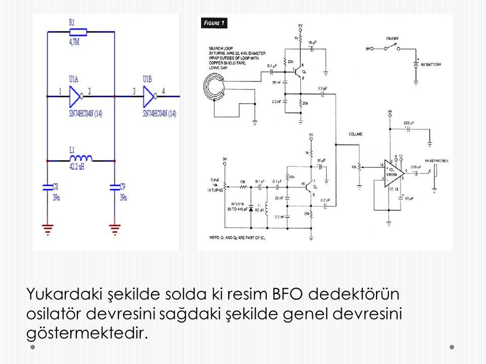 Yukardaki şekilde solda ki resim BFO dedektörün osilatör devresini sağdaki şekilde genel devresini göstermektedir.