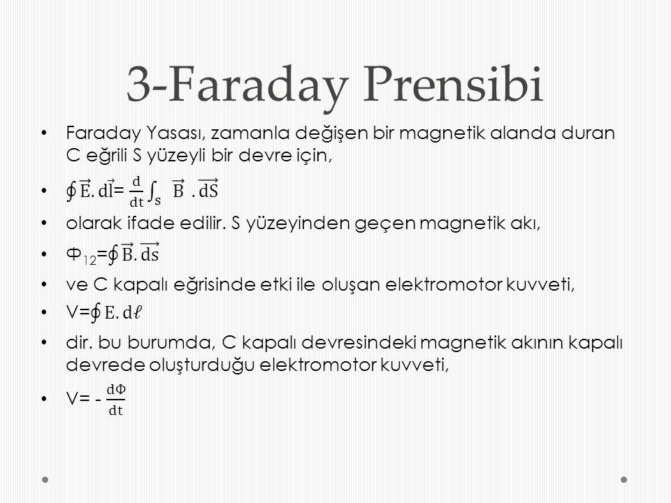 3-Faraday Prensibi Faraday Yasası, zamanla değişen bir magnetik alanda duran C eğrili S yüzeyli bir devre için,