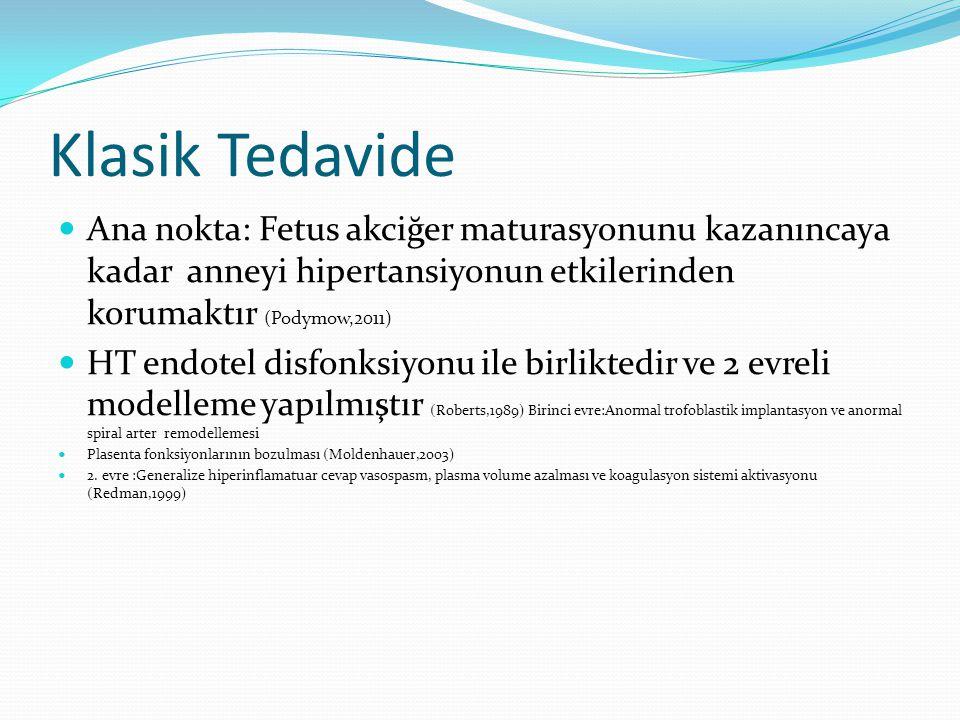 Klasik Tedavide Ana nokta: Fetus akciğer maturasyonunu kazanıncaya kadar anneyi hipertansiyonun etkilerinden korumaktır (Podymow,2011)