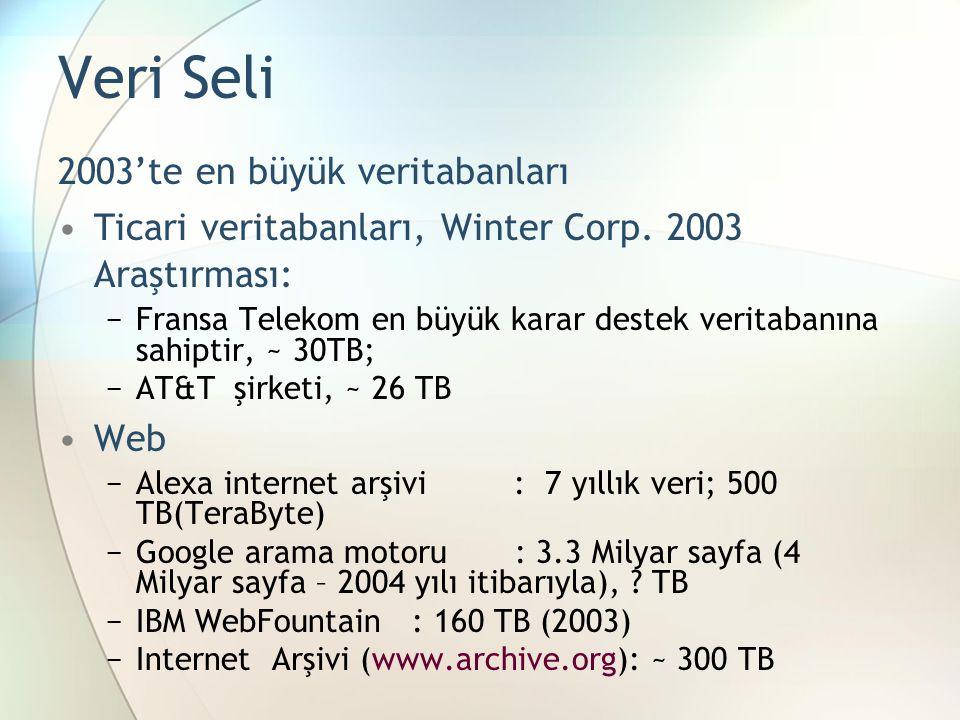 Veri Seli 2003'te en büyük veritabanları