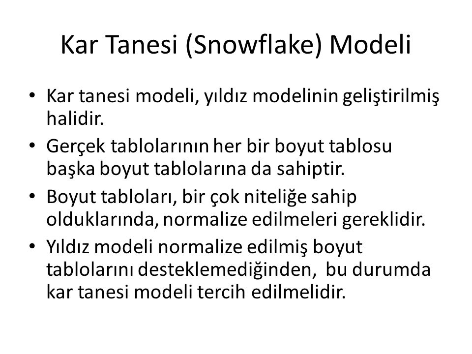 Kar Tanesi (Snowflake) Modeli