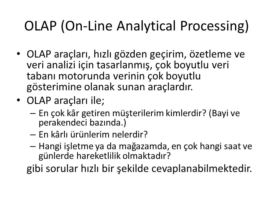 OLAP (On-Line Analytical Processing)