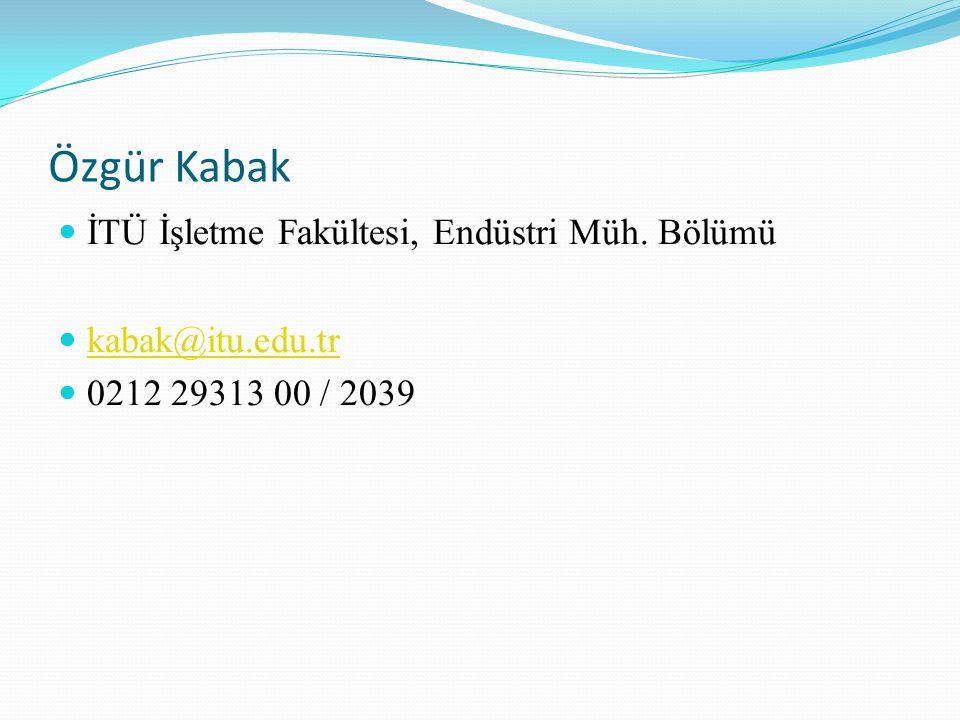 Özgür Kabak İTÜ İşletme Fakültesi, Endüstri Müh. Bölümü