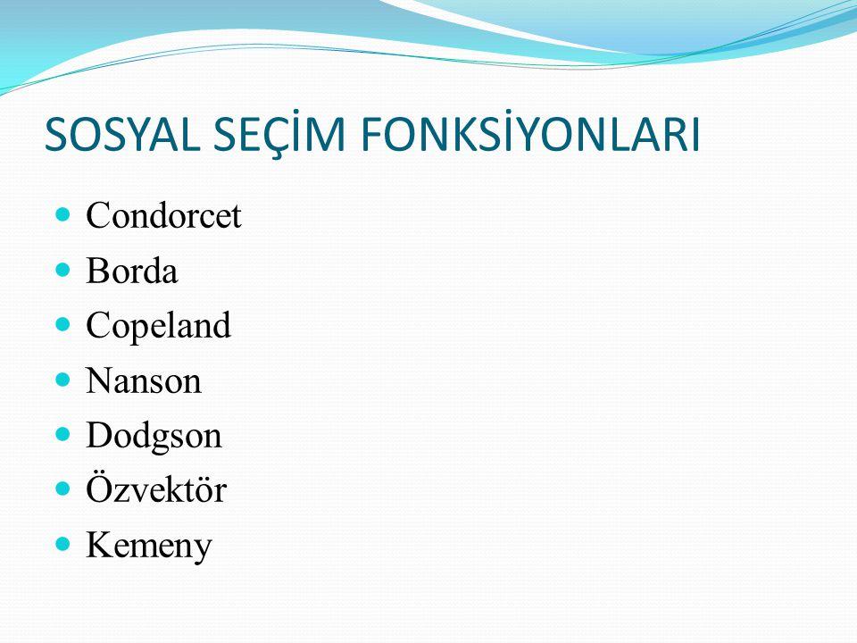 SOSYAL SEÇİM FONKSİYONLARI